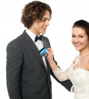 Bride with Credit Card and Groom