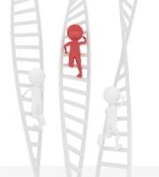 3D Figures Climbing Ladder