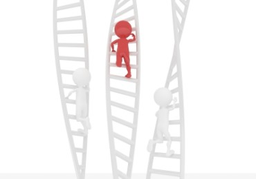 3D Figures Climbing Ladder
