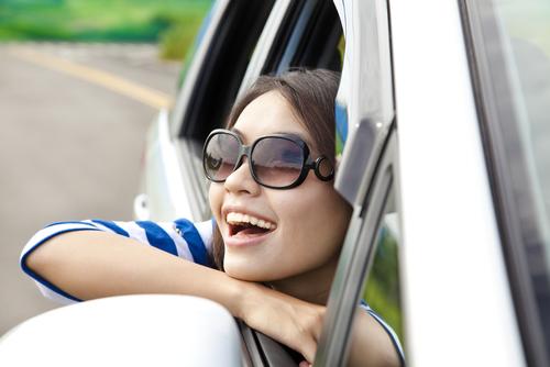girl car window