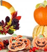Halloween Decor Cookies, Wreath And Pumpkins