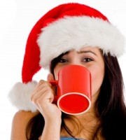 Girl Drinking with Santa Hat