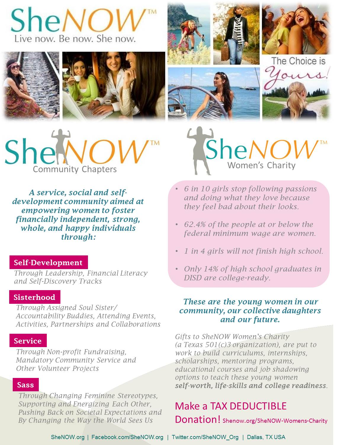 SheNOW and SheNOW Womens Charity Info Sheet jpg